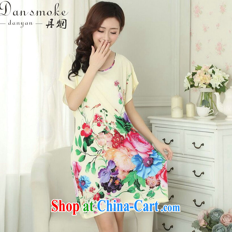 Bin Laden smoke summer new, Ms. Tang's knited pajamas stamp duty cotton round-collar relaxed gradient short-sleeved bathrobe dresses - A are code