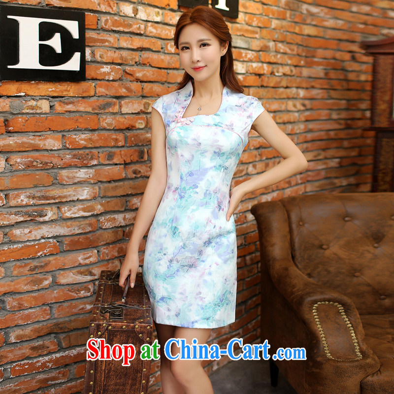 Dresses 2015 spring and summer with short, daily improved short-sleeved jacquard ice silk and cotton cultivation, cheongsam dress 9121 blue M