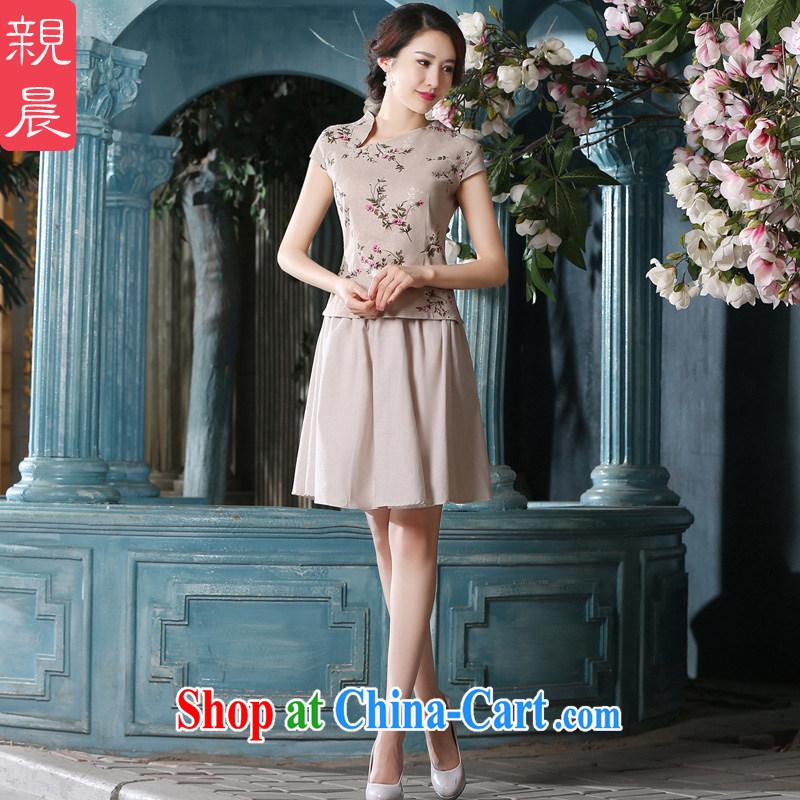 pro-am 2015 New Spring Summer Day retro short improved stylish cotton Ma dress short-sleeved T-shirt dresses T-shirt + skirt XL