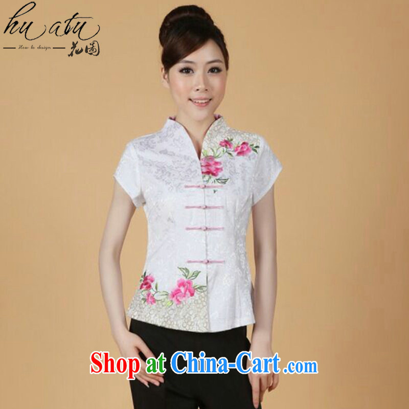 spend the summer new, short-sleeved Chinese Chinese improved embroidered stretch cotton-mouth to everyday Chinese T-shirt such as figure 3XL