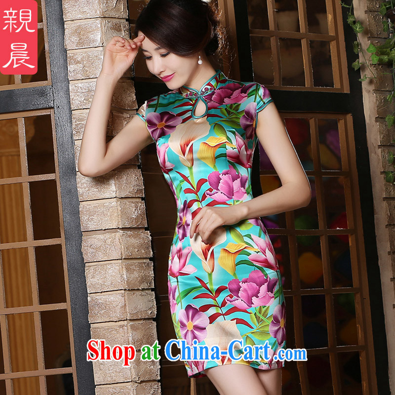 Parent morning daily improved retro stamp silk sauna silk short summer beauty, not the forklift truck cheongsam dress short 2 XL