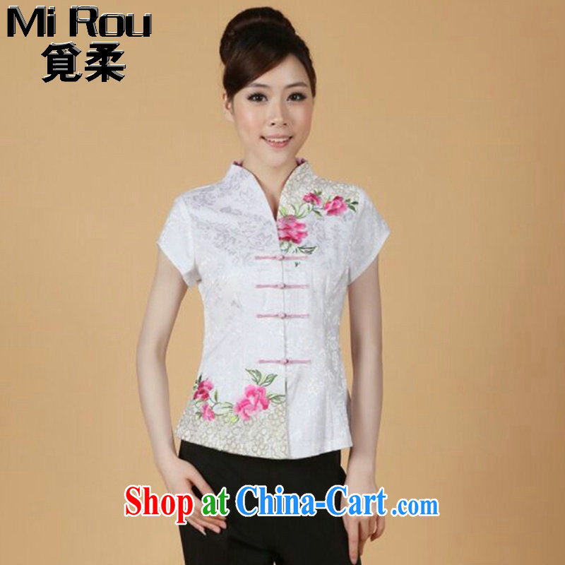 Find Sophie summer new, short-sleeved Chinese Chinese improved embroidered stretch cotton-mouth to everyday Chinese T-shirt such as the color 3 XL