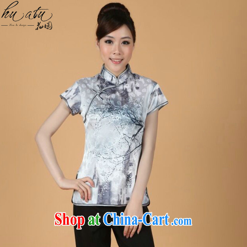 spend the summer new, short-sleeved Chinese Chinese improved embroidered stretch cotton-mouth to everyday Chinese T-shirt such as the color 2 XL