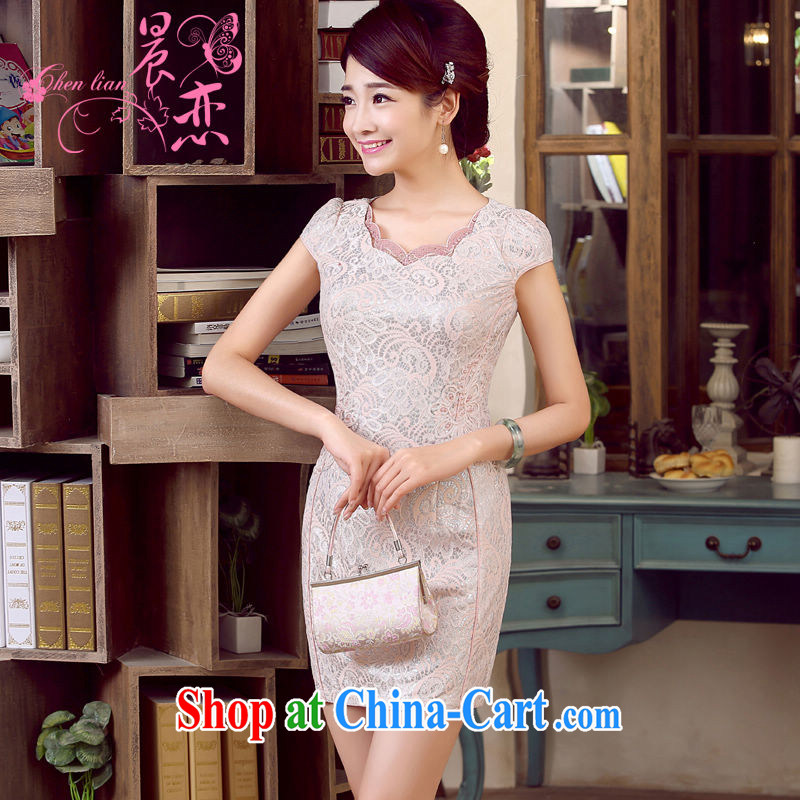 Morning, dresses new 2015 summer retro short improved stylish Chinese qipao low collar dresses 3 color pink XXL