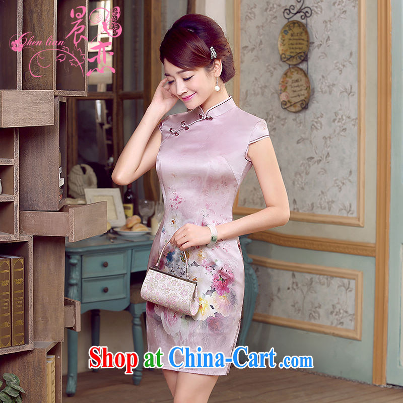 Morning, dresses new 2015 summer retro short-sleeved improved stylish sauna silk heavy Silk Cheongsam dress pink with pink XXL