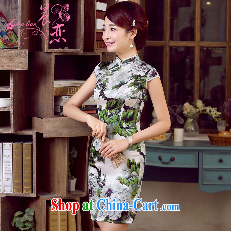 Morning, dresses new 2015 retro summer short-sleeve improved stylish sauna silk heavy Silk Cheongsam dress summer flowers floral XXL