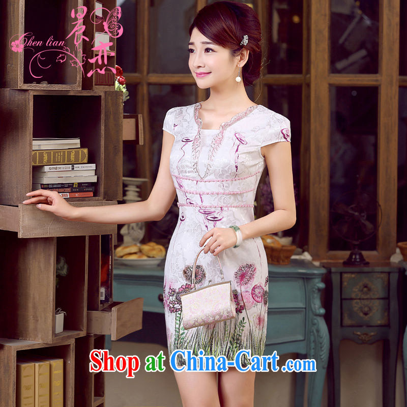 Morning, dresses new 2015 summer retro short-sleeved improved stylish Chinese qipao dress V collar dresses, the purple XXL