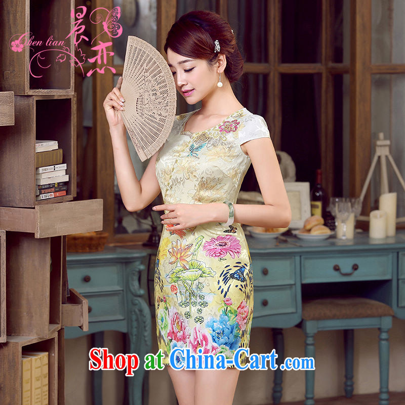 Morning, dresses new 2015 summer retro short-sleeved improved stylish Chinese qipao dress low collar dresses, shadow yellow XXL