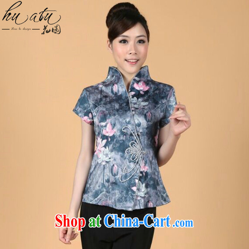 spend the summer with new short-sleeved, Tang with Chinese improved butterfly buckle stretch stamp duty cotton cultivating Chinese female figure color XL