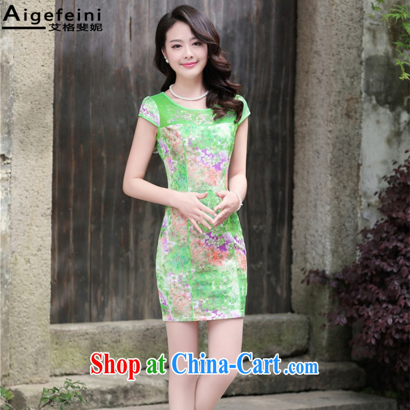 The grid has caused Connie (Aigefeini) 2015 summer new, Retro dresses embroidered improved cheongsam beauty graphics thin package and green the Peony XXXL