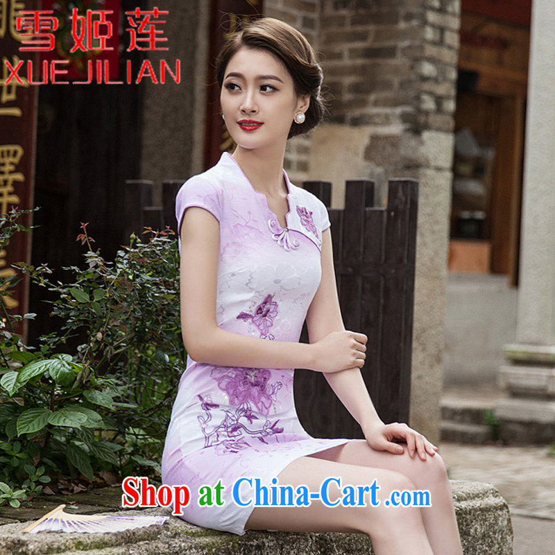 Hsueh-Chi Lin Nunnery 2015 new spring and summer with stylish short retro dresses dresses dresses daily dress dress _1127 violet XXL