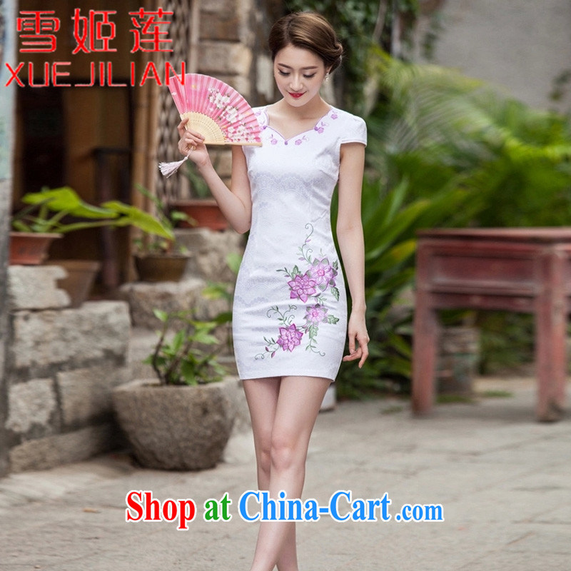 Hsueh-Chi Lin Nunnery 2015 new dresses spring and summer with stylish short retro dresses dresses dresses daily dress dress #1126 Map Color XXL