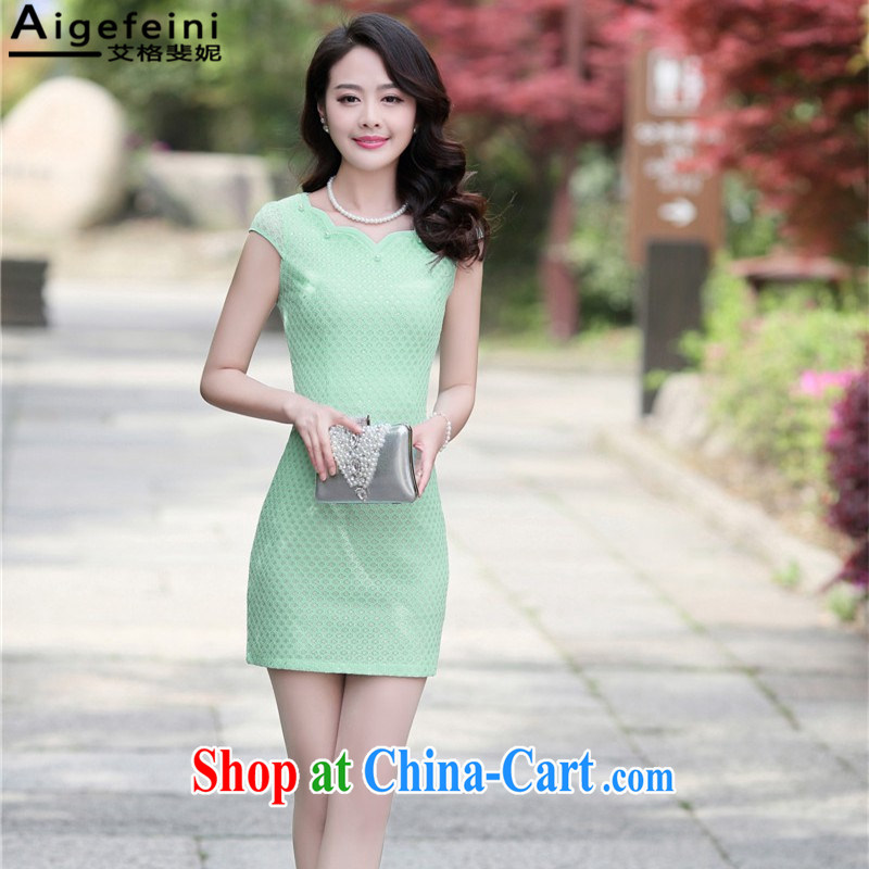 The grid caused Connie _Aigefeini_ summer 2015 new women who decorated graphics thin lace elegant package and improved flag dress robe Green Green XXXL