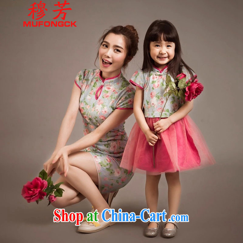 Mr. Fong summer 2015 new stylish parent-child fashion Ethnic Wind lace cheongsam Kit skirt 805 photo color S
