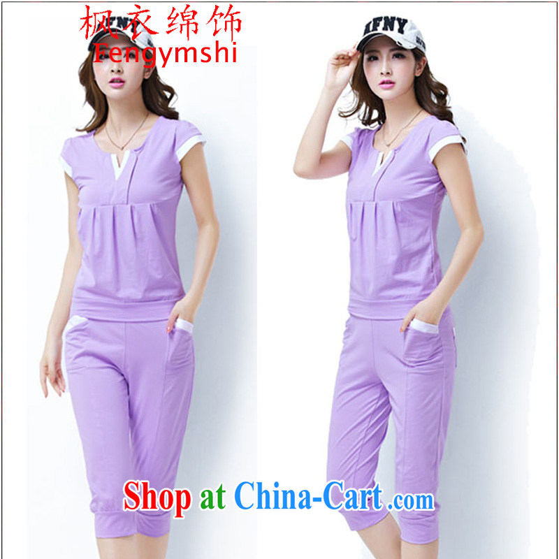 Feng Yi cotton trim 6031 #2014 new, summer short-sleeved sweater 7 pants stylish sports & Leisure package has shipped G 1670 violet XXL