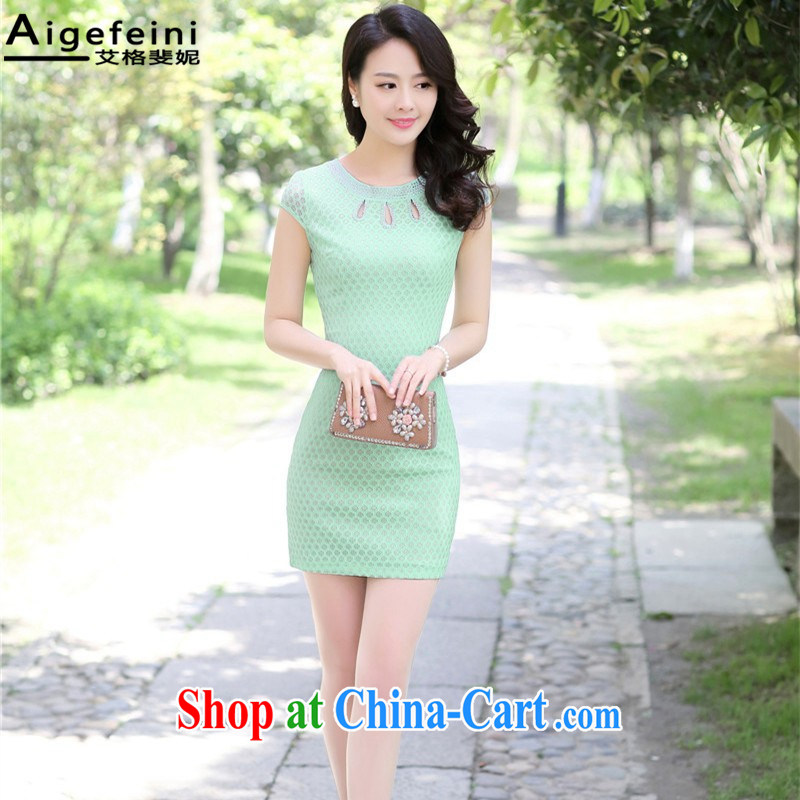 The grid caused Connie (Aigefeini) 2015 summer new dresses short stylish dress female package and improved cheongsam Green Green XXL