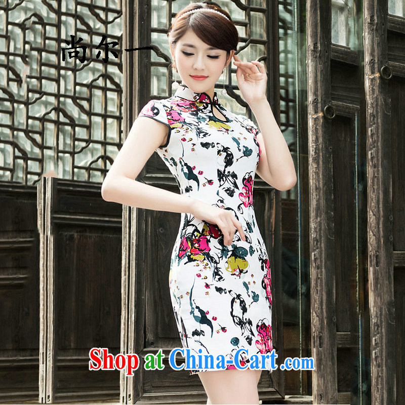 Still, 12,015 new summer daily short retro dresses improved cultivation cotton dress style 5201 white XXL