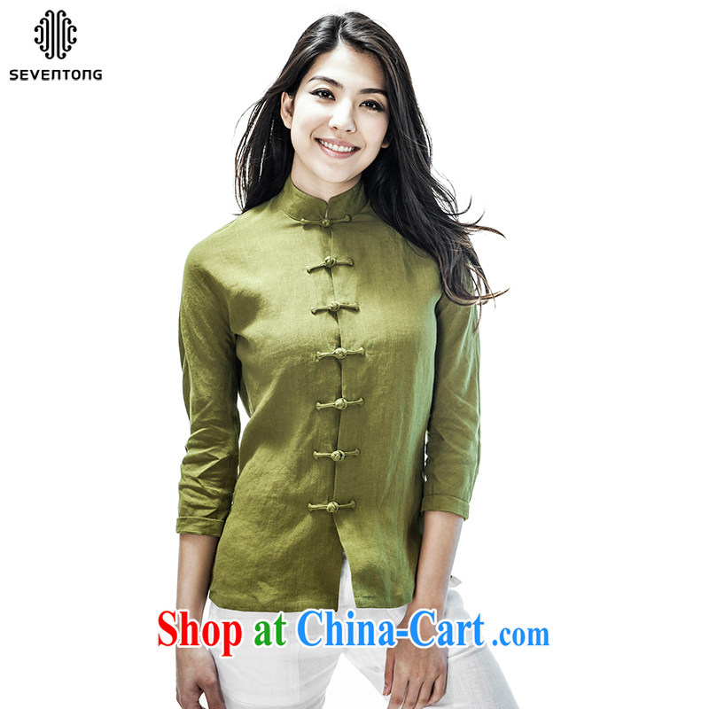 Fujing Qipai Tang China wind flax, Chinese T-shirt 7 cuff Chinese-tie shirt, for cultivating summer national female thin shirt green XL (wide)