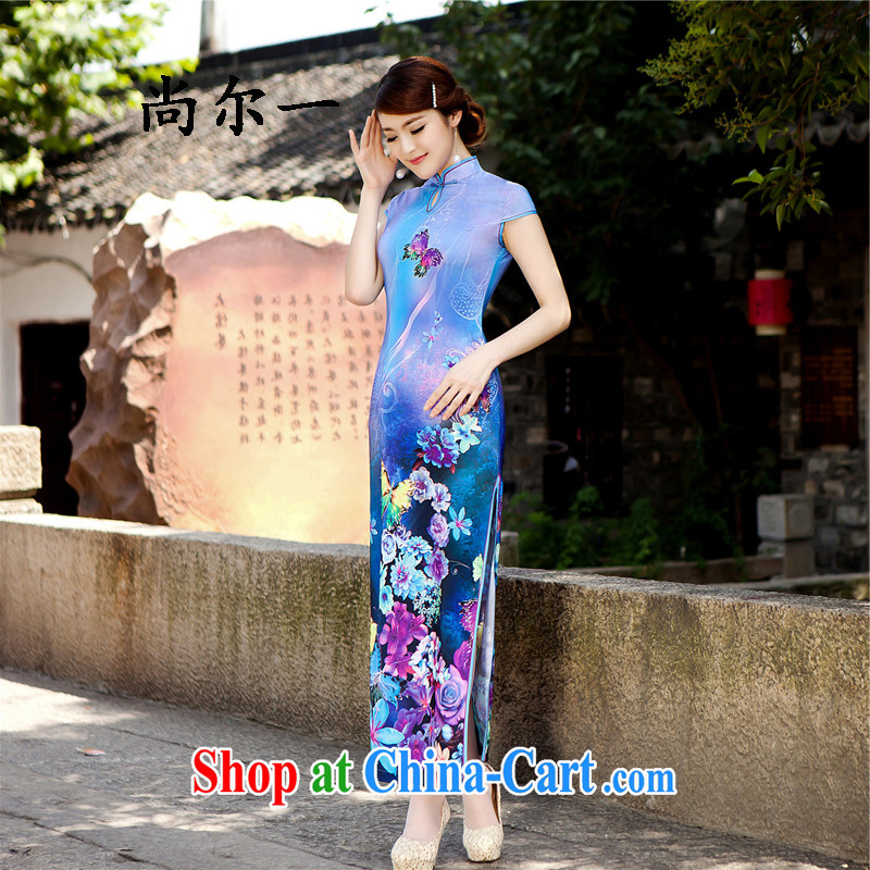 There's a new paragraph cheongsam dress long, cultivating the forklift truck Korea antique cheongsam noble elegance long cheongsam 5207 blue XXL