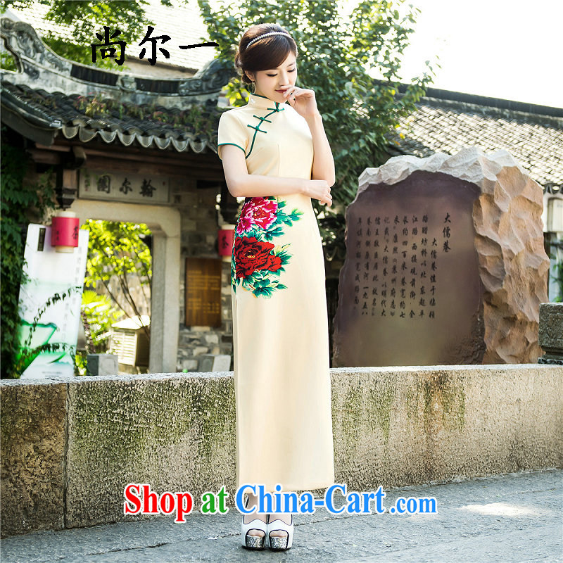 There's a new summer fashion improved daily cheongsam Chinese wind long dresses retro silk long cheongsam 5209 Map Color XXL