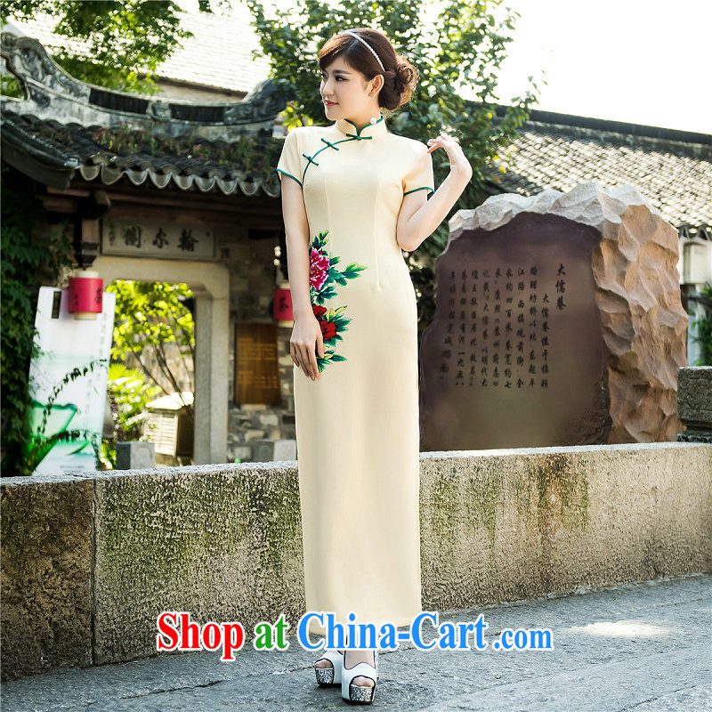 There's a new summer fashion improved daily cheongsam Chinese wind long dresses retro silk long cheongsam 5209 Map Color XXL, there's a, online shopping