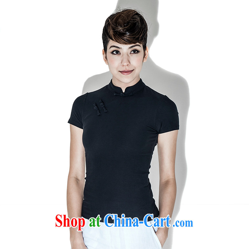 Fujing Qipai Tang China wind improved short cheongsam shirt retro stretch short-sleeved Chinese is a hard disk back up for Chinese T shirt summer female original national summer black XL _wide_