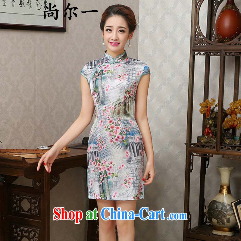 Still, 12,015 summer new Stylish retro beauty, short-sleeved short cheongsam qlf XXL 007