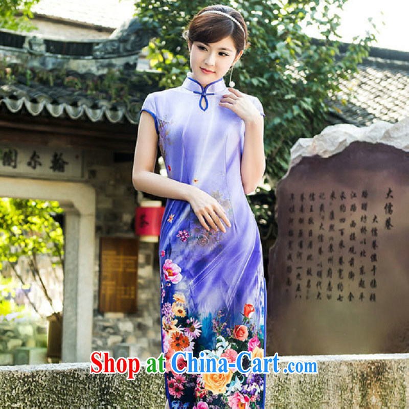 There is a summer fashion improved cheongsam dress long beauty sexy show high on the truck daily outfit 52,011 Map Color XXL