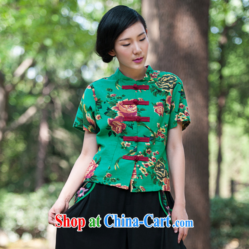 In 2015 Moon Ethnic Wind women's clothing cotton the Chinese clothing is withholding stamp improved Chinese summer T-shirt retro T-shirt green M
