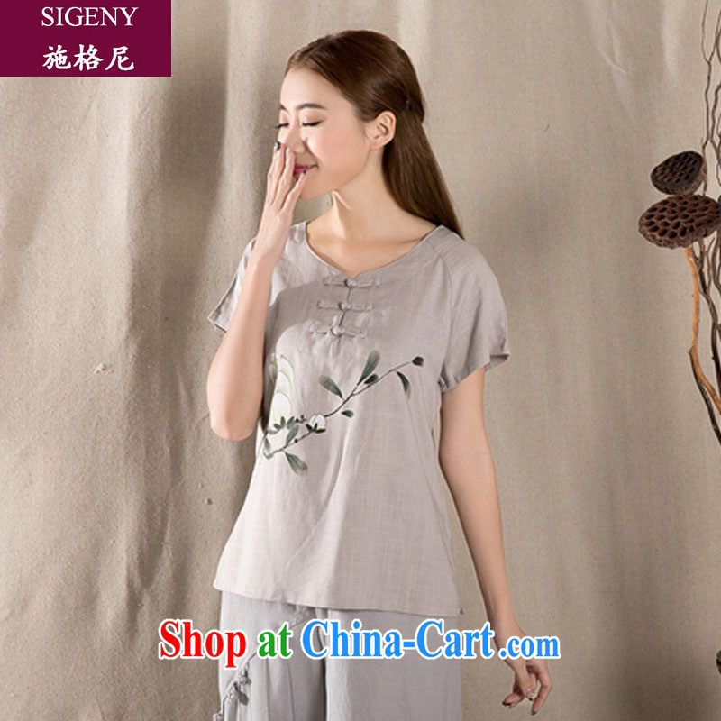 Michael Steiner, 2015 spring and summer with new liberal short-sleeve retro Chinese women improved stylish dresses T-shirt cotton Ms. Yau Ma Tei Tong with gray XXL gray XXL