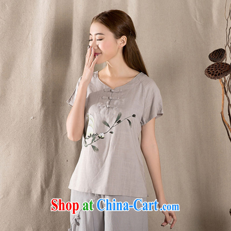 Chancellor Gerhard Schroeder, and the 2015 spring and summer with new liberal short-sleeved retro Chinese female improved stylish dresses T-shirt cotton Ms. Yau Ma Tei Tong with gray XXL gray XXL, Gnjilane, (SIGENY), shopping on the Internet