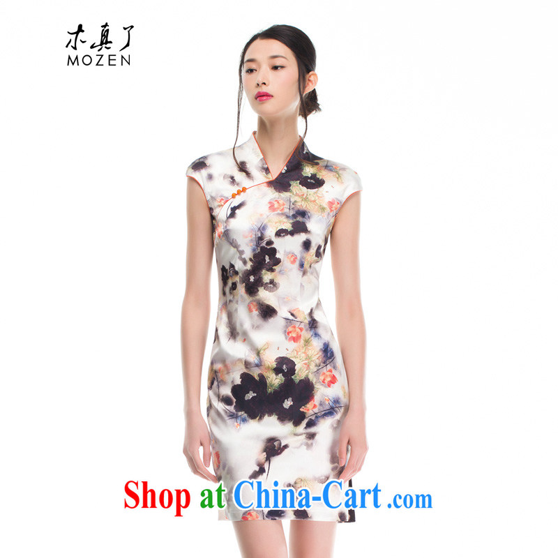 Wood is really the female inkjet silk improved cheongsam dress 2015 summer Beauty Fashion dresses 53,343 07 light gray XXL A ( )