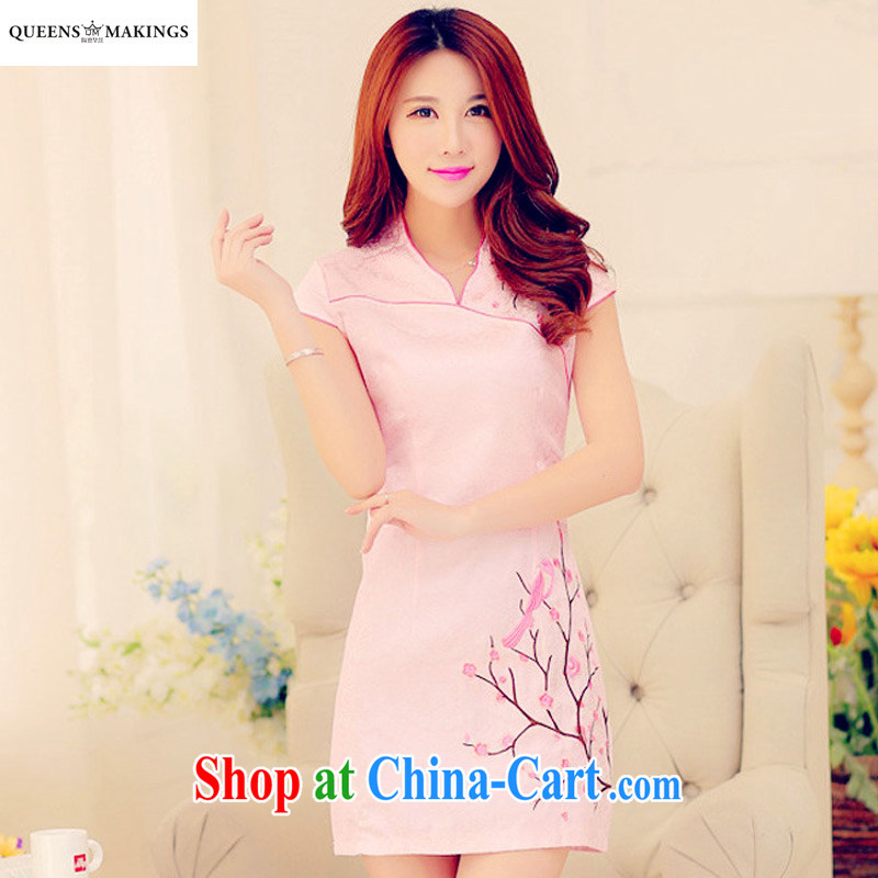 2015 summer new, improved retro style dress short-sleeve dresses China wind elegant Phillips Magpies embroidery cheongsam 1613 pink XL