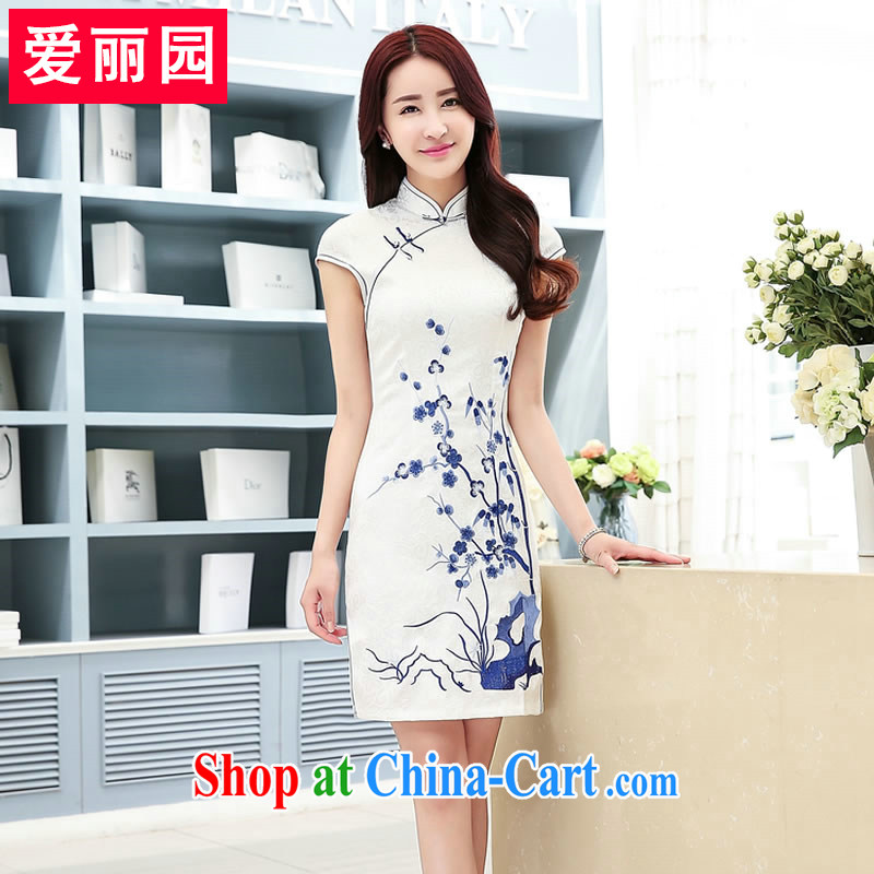 Alice Park 2015 summer new ladies short sleeve cheongsam dress, for cultivating graphics thin skirt in low-power's package and further skirt classic ladies dress spend summer XXL