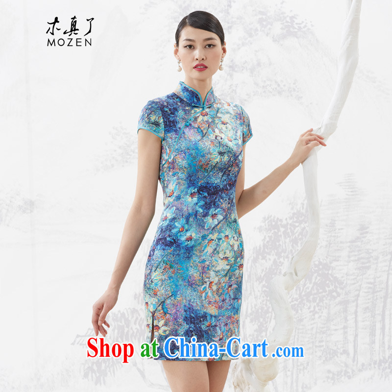 Wood is really an improved cheongsam dress 2015 summer new female aggressive style beauty Silk Dresses 53,349 10 dark blue XXL B _ _