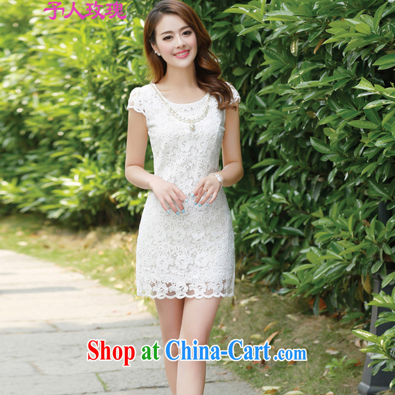 To the people rose 2015 summer new lace beauty OL cheongsam short-sleeved snow woven dresses summer white XXL