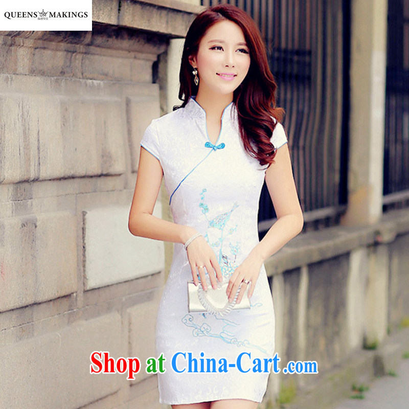 2015 summer new female cheongsam Chinese wind Lotus embroidered dresses ethnic wind improved V cheongsam for women 1614 light blue XL