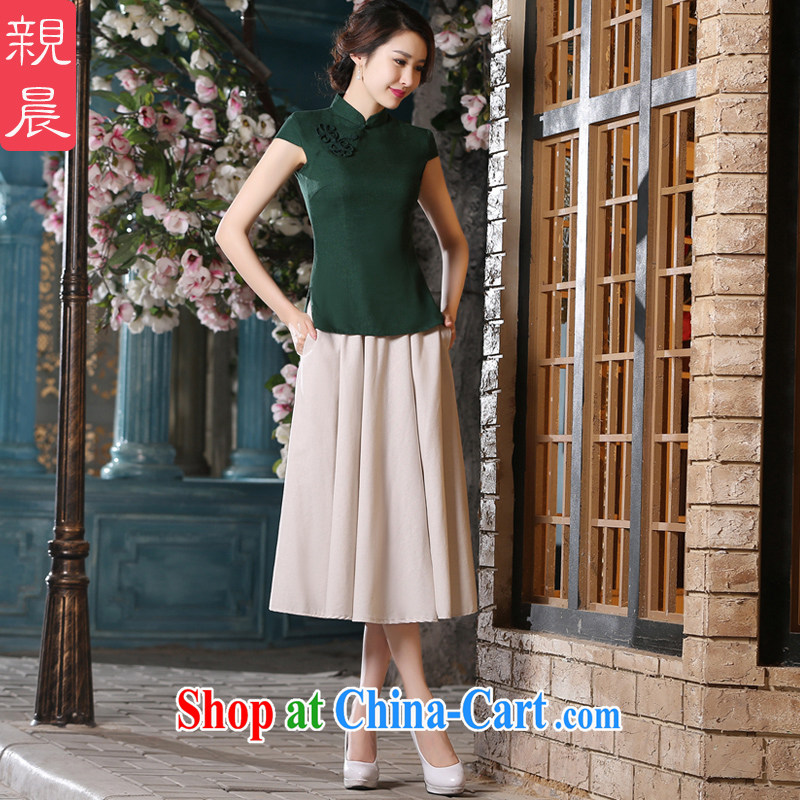 pro-am 2015 new daily summer cotton the cheongsam shirt retro, short-sleeved short skirt cheongsam dress MU 473 T-shirt + MQ 442 2 XL