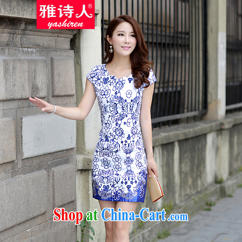Poet, summer 2015 new short-sleeved qipao,Ethnic Wind BEAUTY package and dresses short improved antique porcelain was stamp cheongsam girls blue-and-white porcelain exported M