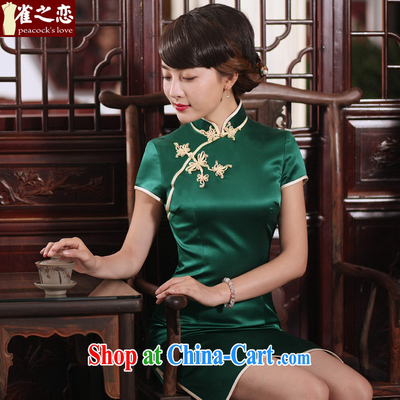 Bird lovers of green micro 2015 spring new 100_ silk short-sleeved long cheongsam QD 302 green short L - pre-sale 7 days