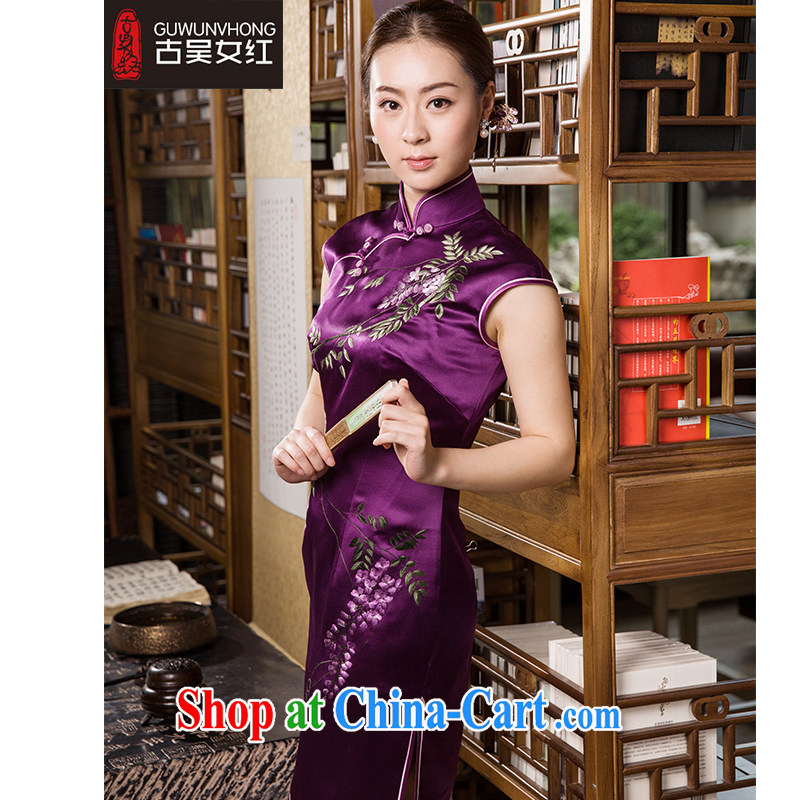 Mr. Wu female Red 2015 summer new cheongsam wisteria vines whispers short XXL