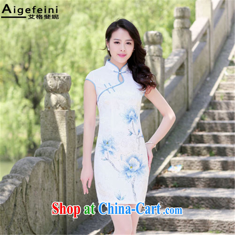 The grid caused Connie (Aigefeini) 2015 summer new retro stamp cheongsam dress summer day, improved cheongsam blue lotus XXL