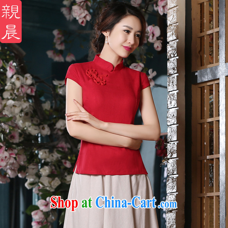 pro-am 2015 New Daily Short cotton the cheongsam red T-shirt retro improved fashion, dresses AV 082 T-shirt L