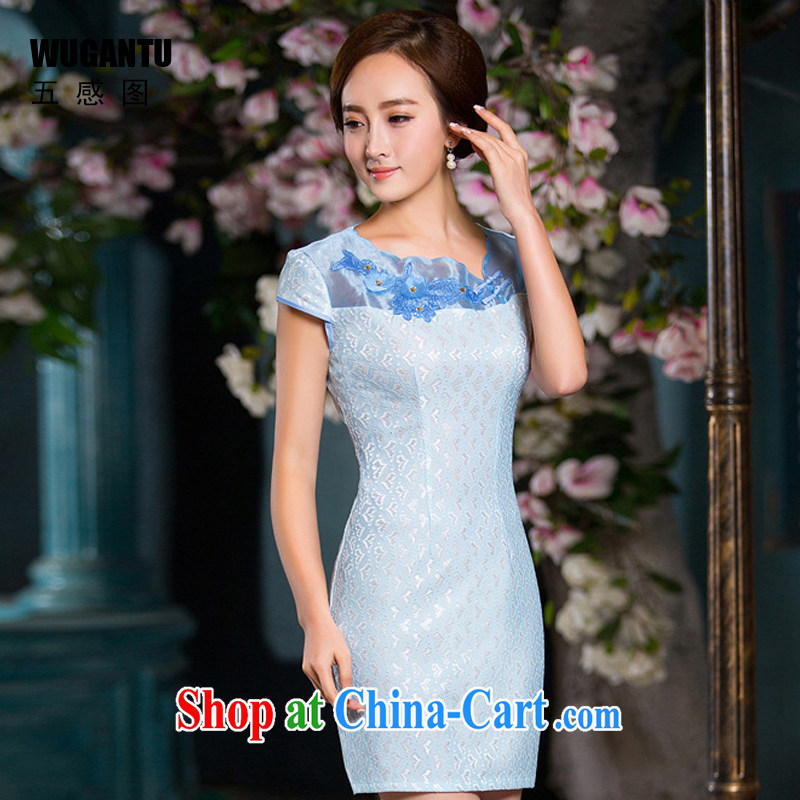 5 the SENSE summer 2015 new, modern-day beauty lace short cheongsam dress dress dress WGT 163 photo color 164 XXL