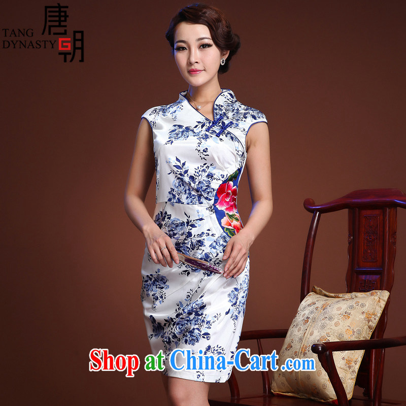 The Tang dynasty summer 2015 new blue and white porcelain cheongsam dress retro improved daily embroidered sleeveless girls dress blue Peony XL