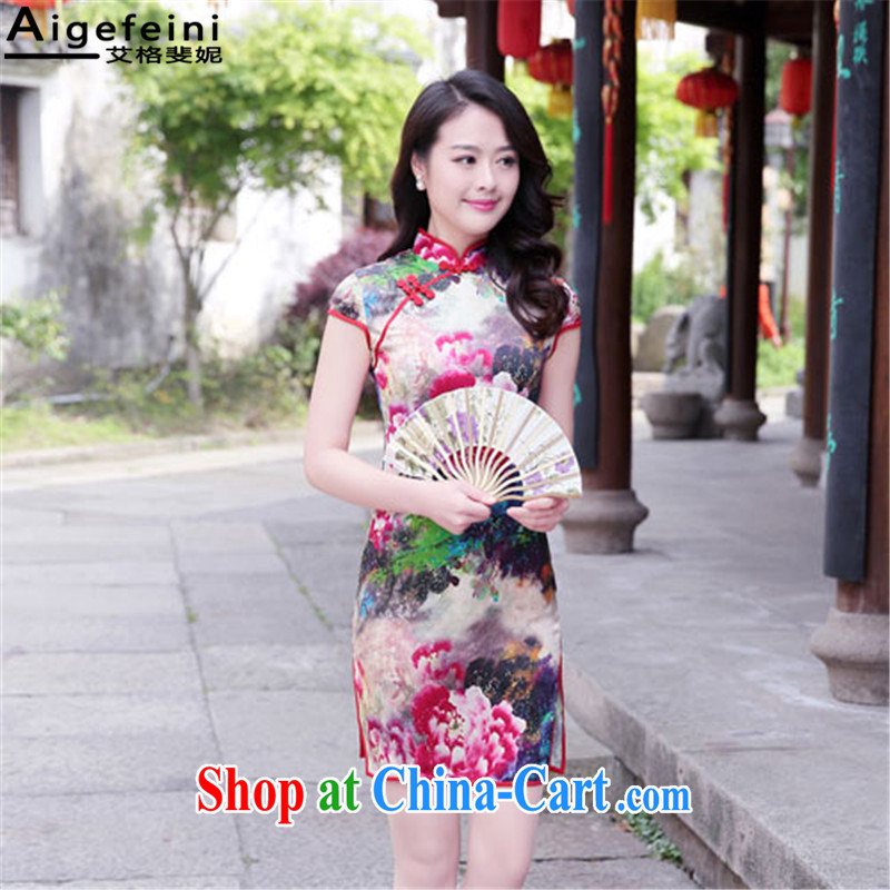 The grid caused Connie (Aigefeini) 2015 summer New Silk Dresses high antique dresses daily improved cheongsam dress red Peony XXL