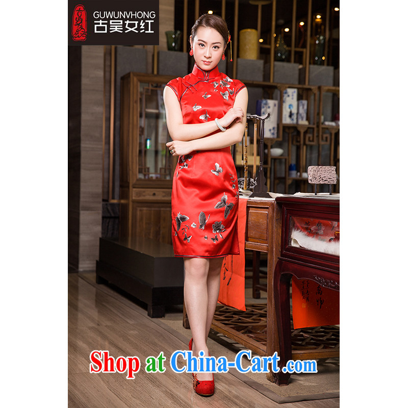 Mr. Wu female Red 2015 summer new outfit, butterflies dancing short XXL