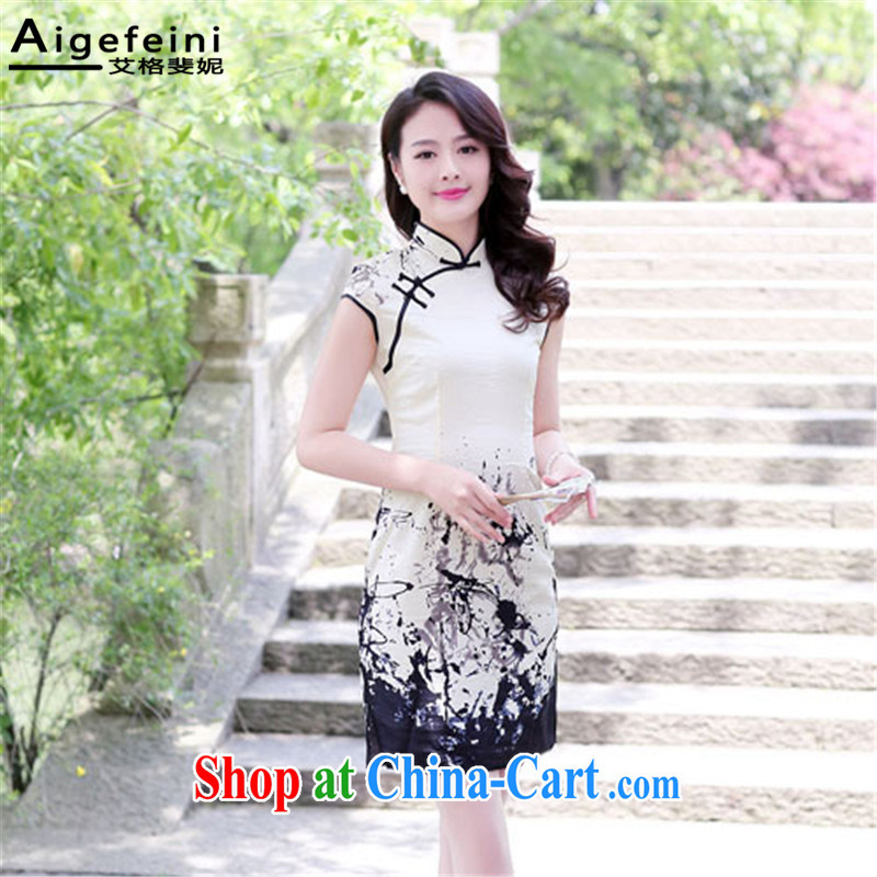 The grid caused Connie (Aigefeini) 2015 summer new dresses women short, Retro Beauty Fashion daily improved cheongsam XXL paintings