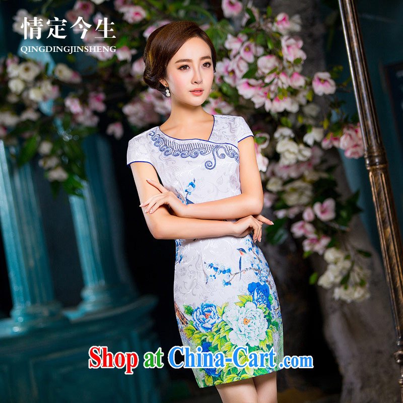 Love of the high life embroidery 2015 summer new and fresh daily cheongsam dress elegant minimalist jacquard cotton skirts Snow Country XL
