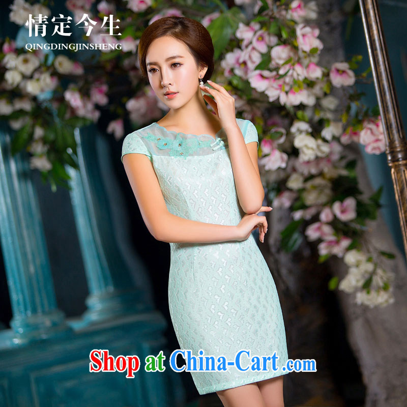 Love Life Chinese Antique summer 2015 New Products lace improved cheongsam dress Daily Beauty ladies short-sleeve package and green XL